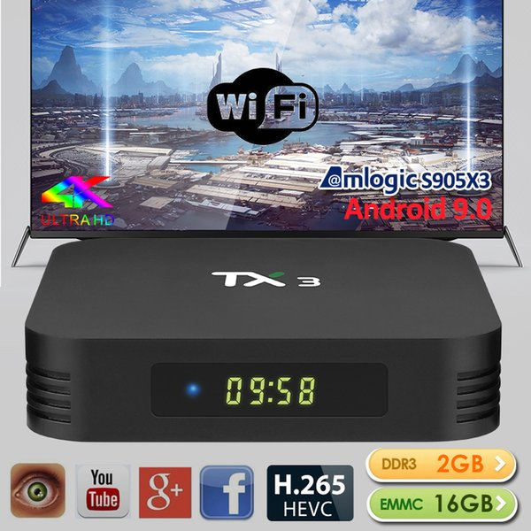 4GB 64GB TX3 Android 9.0 TV BOX Amlogic S905X3 32GB Quad Core 2.4G / 5GHz Wifi BT H.265 8K Media Player