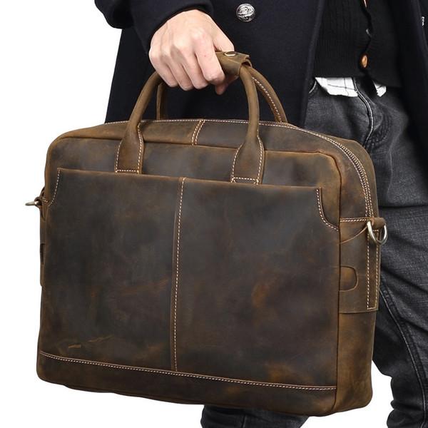 """Luxury Crazy Horse Leather Men Handbag Genuine Leather Shoulder Bag 15"""" Inch Laptop Bag Vintage Casual Business Briefcases #222098"""