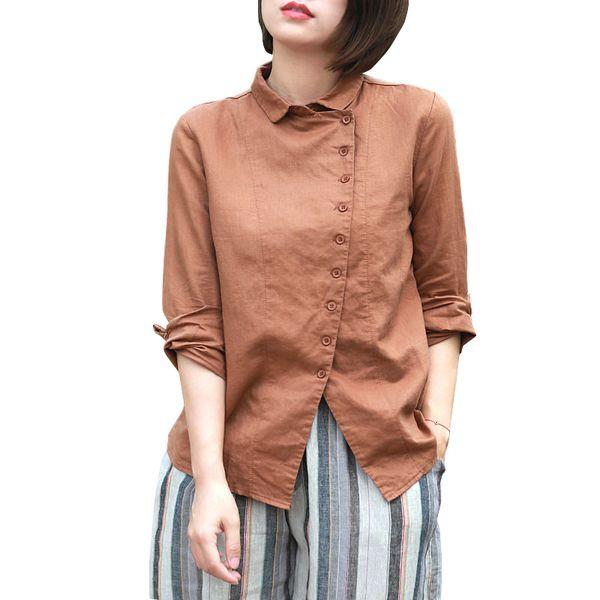 Johnature Kadınlar Vintage Gömlek 2019 Bahar Yeni Pamuk Keten Gömlek Casual Uzun Kollu Turn-down Yaka Üst Kadın Düğmesi Bluz Y19062501