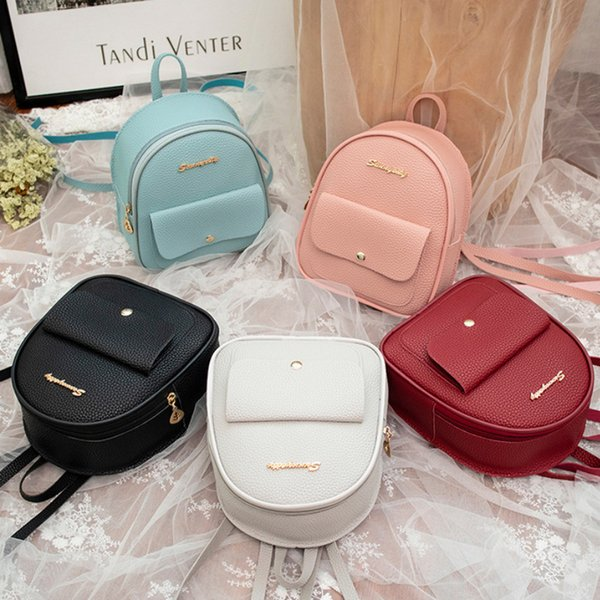 2019 Mini Backpack Mulheres coreano estilo pu couro Shoulder Bag Para Meninas Adolescentes Multi-Function pequeno Bagpack Feminino Telefone Pouch