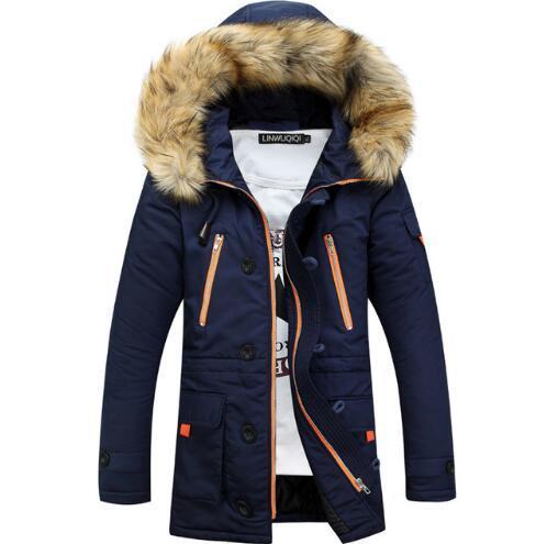 Marca Navy Parka Men 2019 Chaqueta de invierno para hombre de diseño de moda de piel grande con capucha de los hombres de largo Down Jacket Coat para hombre Manteau Homme Hiver