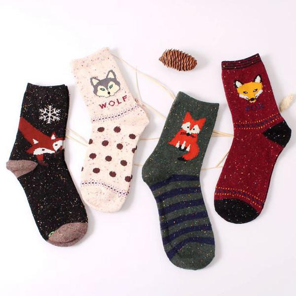 250pair/lot 2019 autumn winter women warm cotton socks animals patterns rabbit wool socks cute cartoon fox wolf socks