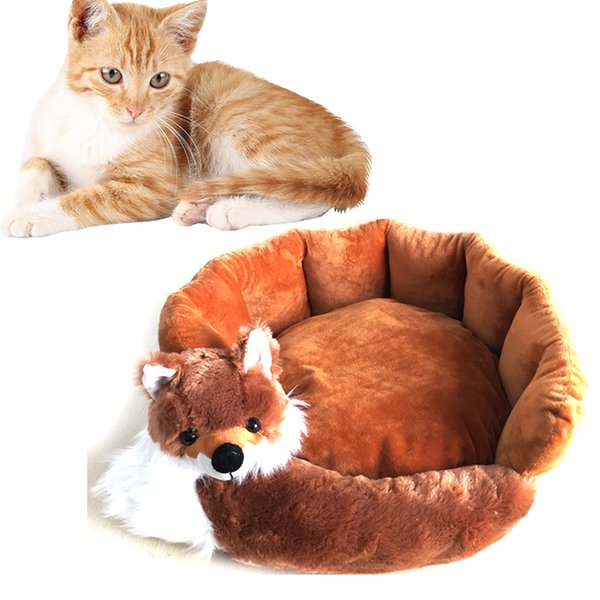 Pet Dog Bed Removable Cute Fox Shaped Cat Sleeping Mat Winter Warm Dog House For Small Dogs Nest Kennel Sofa Beds Pet Supplies
