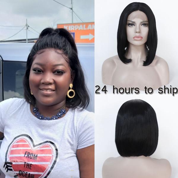 Court Bob perruque synthétique Glueless Lace Front perruques pour afro-américaine chaleur fibre synthétique résistant cheveux dentelle perruque noire cheveux raides Silky