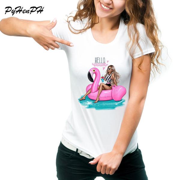 Olá Verão Imprimir camiseta Mulheres Vintage férias Flamingo anel da natação Desing Tops Camiseta T-shirt O pescoço Tumblr superior camisetas