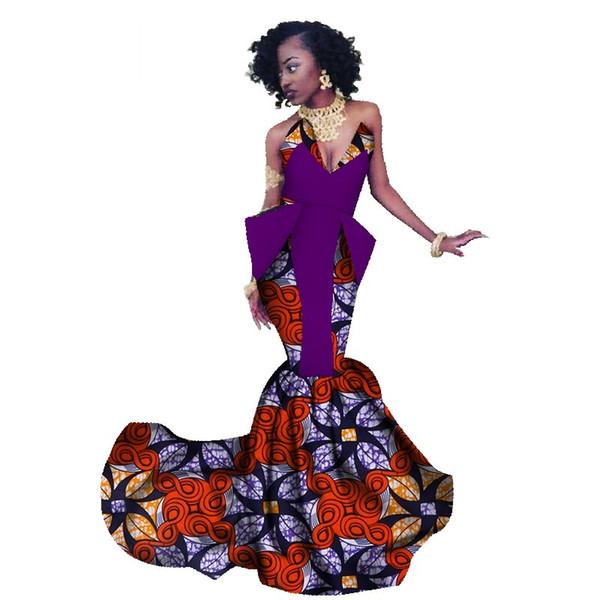 Summer Africa Dress For Women Mermaid Long Dresses Formal Ankara Fashion Dress African Cotton Print Wax Gown WY1300