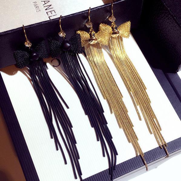 Luxury Design Black Gold Bowknot Long Chain Tassel Earrings for Women Exaggerated Dangle Drop Earrings Party Jewelry