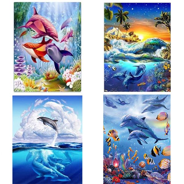 Marines life DIY Diamond Painting dolphins group full square DIY Diamond embroidery full round sea world Diamond painting Mosaic
