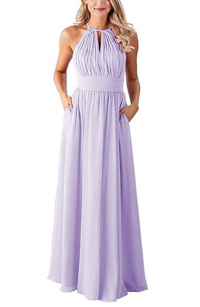 Zarif Halter Boyun Şifon Kadın Balo Elbise ile Cepler Kat Uzunluk 2019 Gelinlik Modelleri Düğün için Özel Made