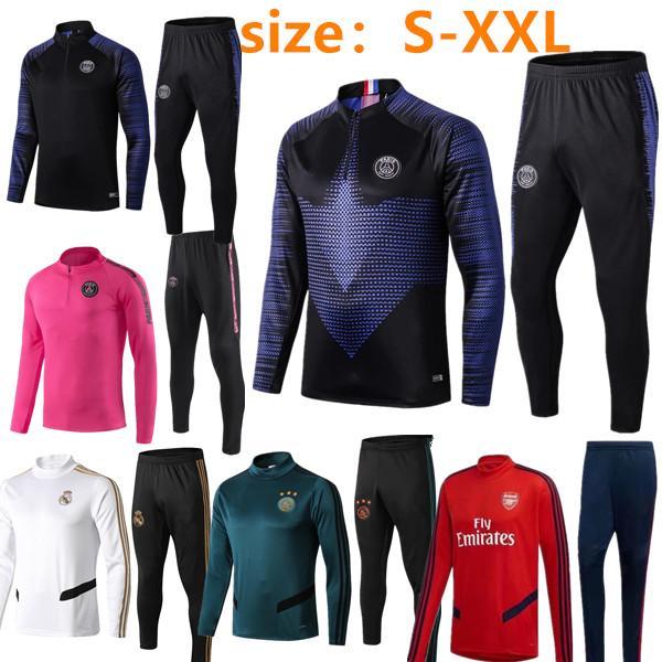 Новый 2019 2020 PSG футбол тренировочный костюм с длинным рукавом MBAPPE CAVANI Трикотажные изделия 19/20 майо-де-париж футбольная куртка бег спортивный костюм