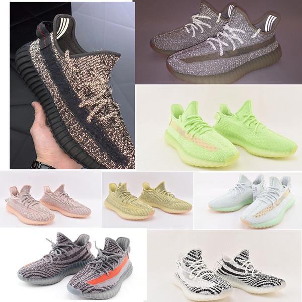 Kanye West V2 Antlia Synth Yansıtıcı Gid Glow Siyah Gerçek Formu Kil Statik Erkek Kadın Koşu Ayakkabıları Zebra Lundmark Atletizm Sneakers 5-13