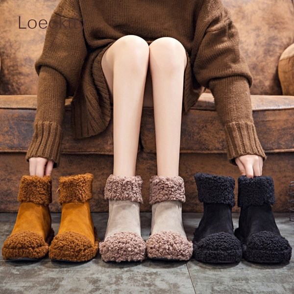 Women's Snow Boots 2018 New Winter Flock Thick Plush Warm Ladies Boot Ankle Boots For Women Flat Black Brown Woman Shoes