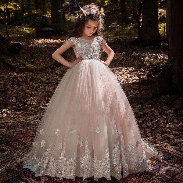 2020 Blush Flower Girl Dresses For Weddings Ball Gown Cap Sleeves Tulle Lace Beaded Long First Communion Dresses Little Girl