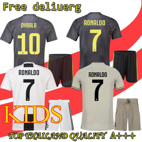 2019 RONALDO Kinder Fußballtrikot 18 19 2018 Heim Auswärts DYBALA HIGUAIN Fußballshirt CRISTIANO Uniform Team