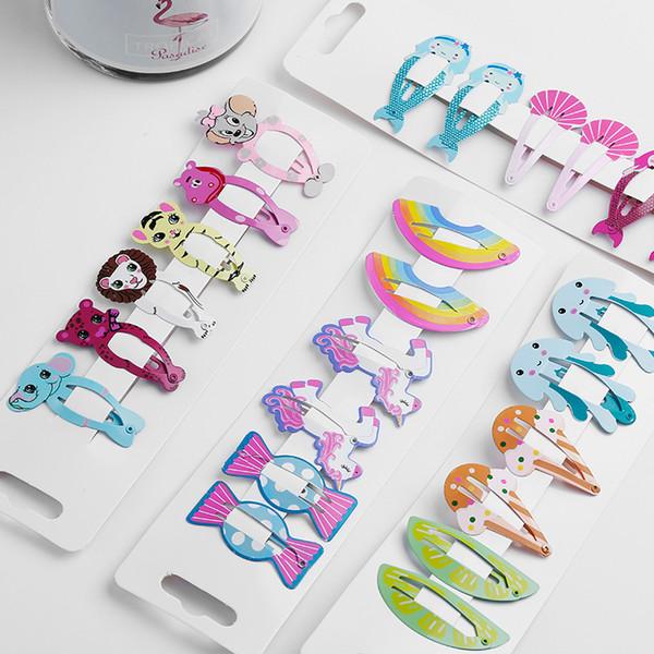 6pcs Enfants Accessoires cheveux filles Barrettes enfants Couvre-chef bébé licorne Barrette arc animal sirène Flamingo mignon