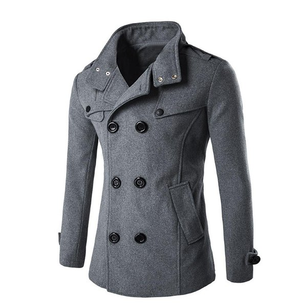 England Style Men Autumn Winter Double Breasted Button Stand Collar Woolen Coat Fashion Business Man Long Wool Blends Outerwear