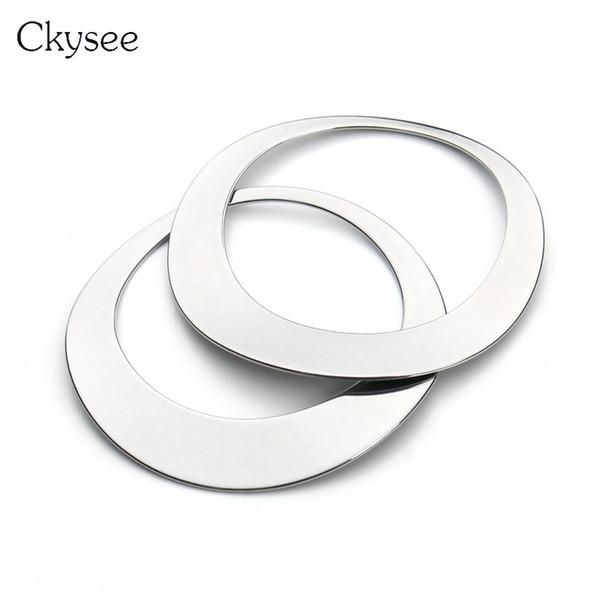 Ckysee 10 Teile / los 45mm Edelstahl Halskette Runde Charms Anhänger Groß Blank Metall Kreis Charme Für Diy Schmuckherstellung