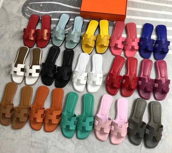 Mujer Zapatillas Sandalias Zapatos de diseño La mejor calidad Verano Sandalias planas Chanclas Sandalias de moda Tamaño: 36-40 Con caja por Shoe07 AMST10003