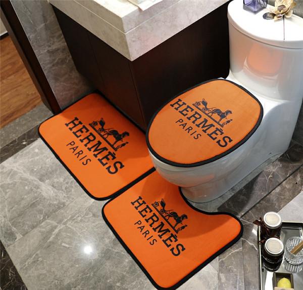 Orange Carpet H Letter Horse Print Коврики для ванной U Type Fashion нескользящий Коврик Для Ванной Ком