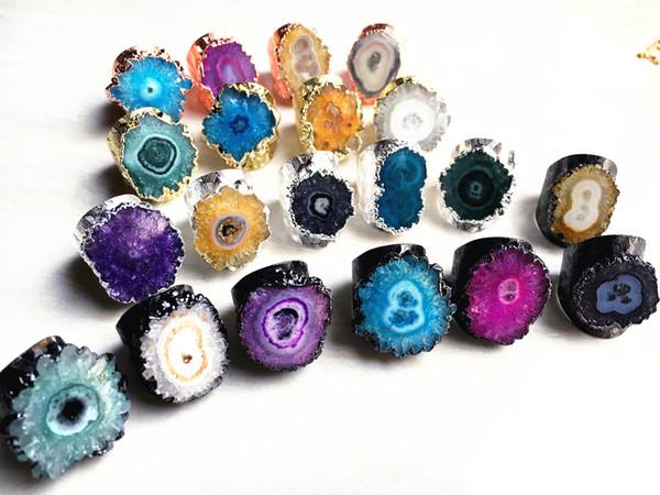 top popular Ring Cuff with Solar Druzy Druzzy Drusy Rings, Silver Gold Gunmetal Gemstone Ring, Rose gold Druzy Rings, Flower Druzy Rings Jewelry RT85_01 2020