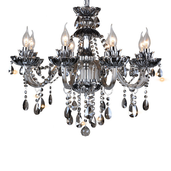JESS Modern Luxury Crystal Lighting Lamp in Black LED Light source E14 with Lampshades Candle Chandeliers K9 Crystal Chandeliers