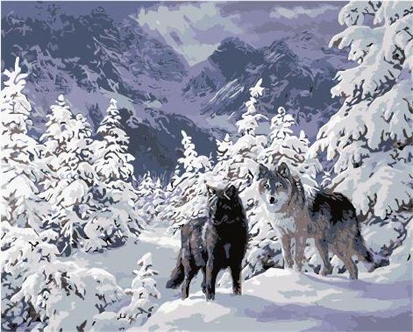 16x20 zoll diy farbe nach zahlen kits acryl ölgemälde auf leinwand für kinder wölfe in den wald snowy mountains