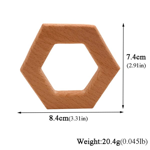 Beech Wooden Shape Wood Teether Teething Ring Animal Organic Soother Toy Baby LT