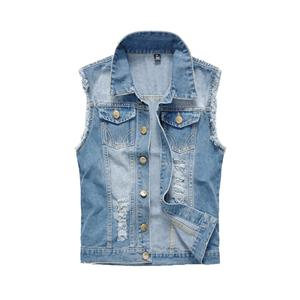 Mens Clothing Spring Men's Denim Vests Ripped Sleeveless Jeans Coat Male Waistcoats Tank Mens Jacket 6XL
