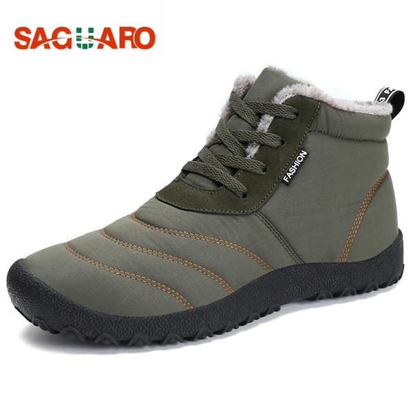SAGUARO Super Warm Men Winter Boots for Man Warm Waterproof Rain Boots Shoes 2018 New Men's Ankle Snow Boot Botas Masculina