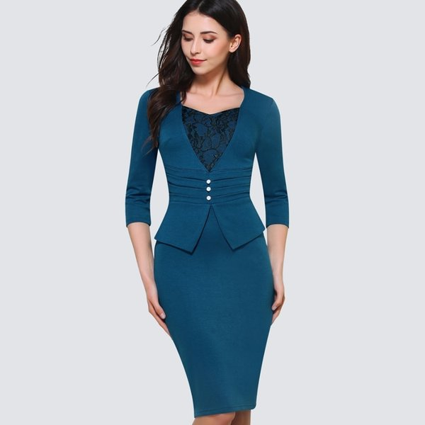 Elbise Giyen Örgün Kadın V Boyun Dantel Örtüsü Düğmesi Kalem Ofis Diz Boyu Zip Geri Bandaj Elbise giysi tasarımcısı