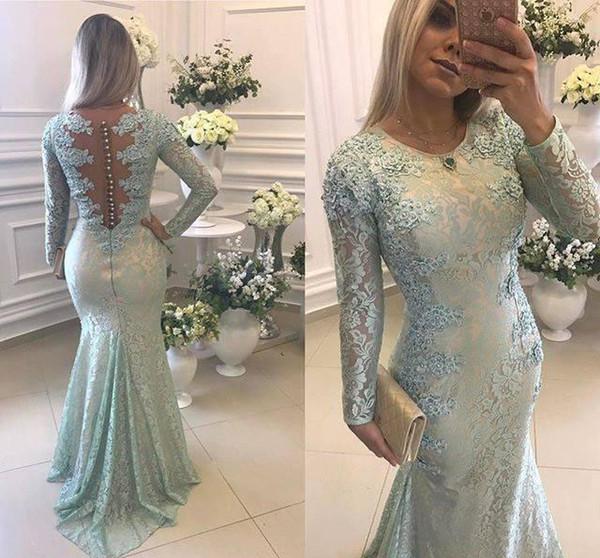 2018 Salbei Meerjungfrau Abendkleid Jewel Neck Long Sleeves Mit Spitze Applique Formal Holiday Wear Prom Party Kleid Nach Maß Plus Größe