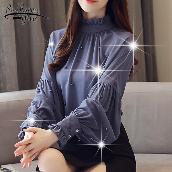 Blusas e camisas das mulheres 2018 manga longa causal elegante das mulheres top sólido beading causal vestuário blusas femininas 0781