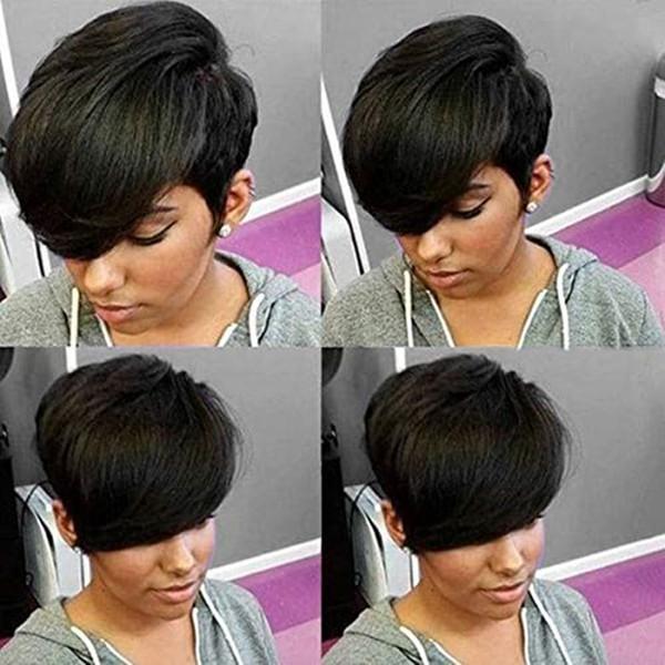 Malaysische Gerade Kurze Bob Perücken Für Schwarze Frauen Remy Haar Natürliche Farbe nicht Spitzefront Menschliches Haar Perücken