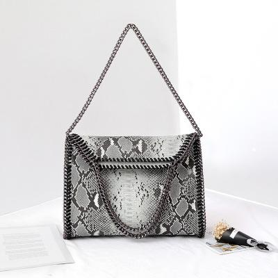 New Autumn and winter snake pattern one shoulder three chain bag portable folding leopard lady bag big bag