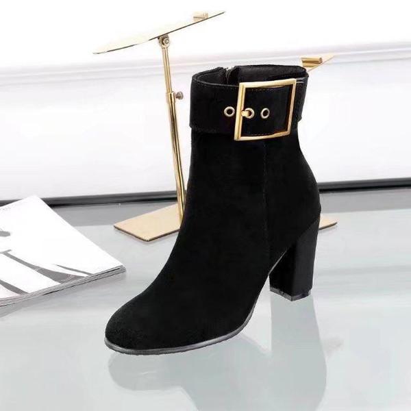 Hot vendre- Automne Hiver Bottes en suède talons hauts pour les femmes Boucle Fashion Designer Ladies Boot