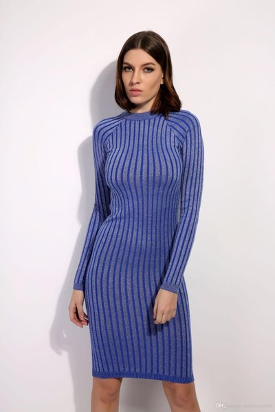 Womens Winter Autumn Knitted Dress Female Formal Stripes Bodycon Dresses Long Sleeved Sweater Dress