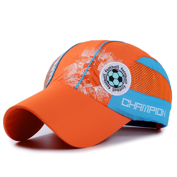 QIUBOSS Fast Dry Printting Baseball Cap for Kids Summer Sport Polyester Mesh Cap Football Logo Children Net Cap Sunhat