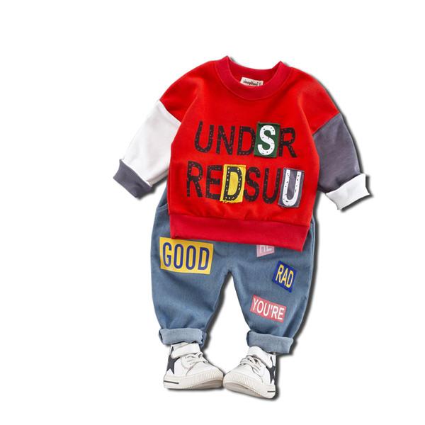 Spring Autumn Kids Boys Girls Letter Clothing Sets Children Patchwork T-shirt Jeans Pants 2Pcs/Set Baby Fashion Cotton Tracksuit