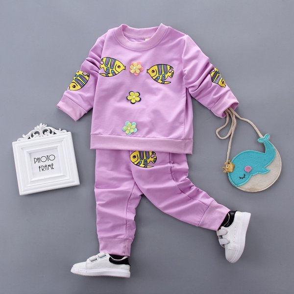 fd2caadcb Ropa de bebé niña traje 2018 Primavera Otoño Ropa de los niños Outfit  Infant Kids Cartoon