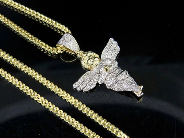 Men's 10K Yellow Gold Genuine Diamond Cherub Angel Pendant Charm Chain