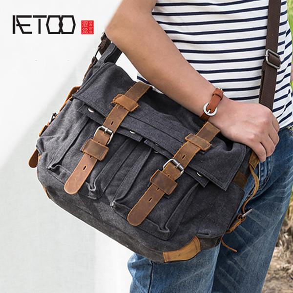 AETOO Casual canvas bag men's shoulder crossbody bag man oblique cross sack