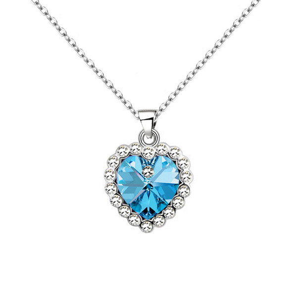 Ocean Of Heart - Korean Edition Love Crystal Ornaments Accessories Dress And Dress Ma'am Hundred And Up Necklace Clavicle Chain Pendant
