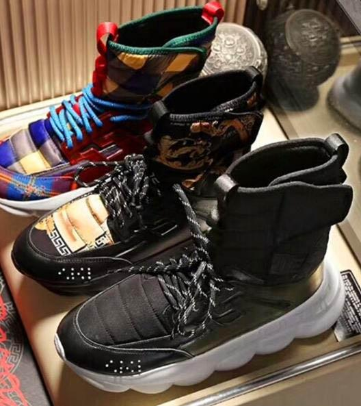 2019 Mens High Top Black Chain Reaction Casual Shoes Boots Medusa Chain-linked Sneakers Trainer Luxury Sneaker Big Size A11