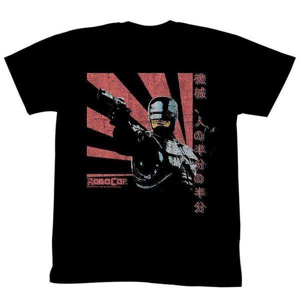 Adult Mens RoboCop Movie Sunshine Japanese Writing Black T-Shirt Tee Cool Casual pride t shirt men Unisex