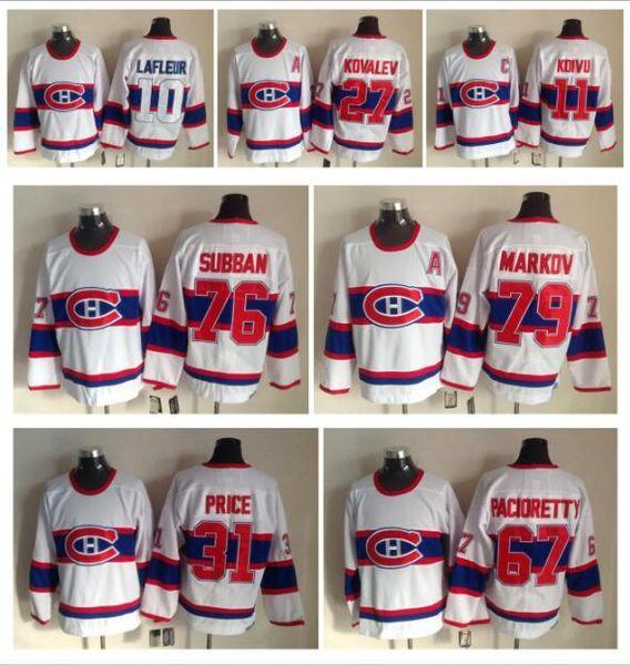 CCM Montreal Canadiens Retro Vintage Ice Hockey Jerseys 11 Saku koivu Jean Beliveau 31 Carey Price 67 Max Pacioretty 9 Richard 76 PK Subban
