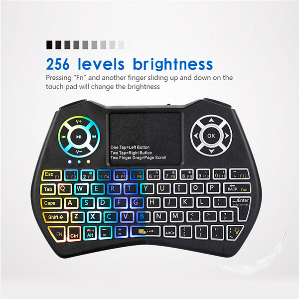 Высококачественная мини-клавиатура I9 Plus с красочной подсветкой и воздушной мышью с сенсорной панелью Пульт дистанционного управления Работа для Android TV BOX / TV / Mini PC / Projector / X9
