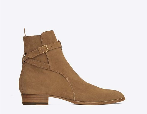 Hot sale-2018 new England pointed toe wyatt men boots Buckle Strap slp ankle luxury suede boots