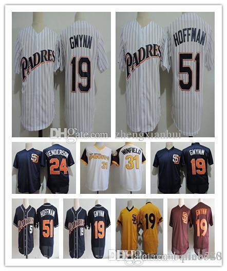 19 Tony Gwynn Jerseys 51 TREVOR HOFFMAN 2018 HOF Jersey 24 RICKEY HENDERSON 31 Dave Winfield Retirement Baseball uniform