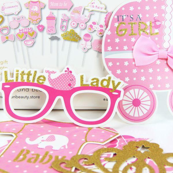20pcs/Set Baby Girl (Boy) Shower Photobooth Props Its a girl Party Props Pink Baby Shower Party Blue Boy Photo