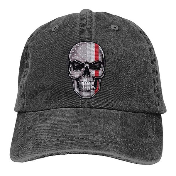 2019 nouveau designer casquettes de baseball mince ligne rouge drapeau américain crâne hommes coton réglable casquette de baseball en sergé lavé chapeau